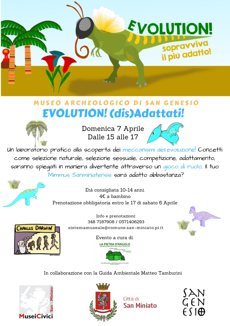 """EVOLUTION (DIS)ADATTATI!"" – 7 APRILE – MUSEO AREA ARCHEOLOGICA DI SAN GENESIO"